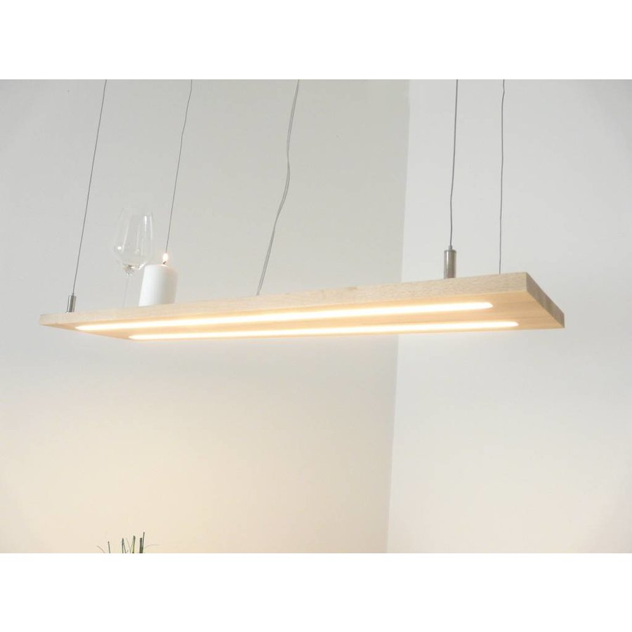 Hängeleuchte Holzlampe Buche Doppel Led Zeile-2