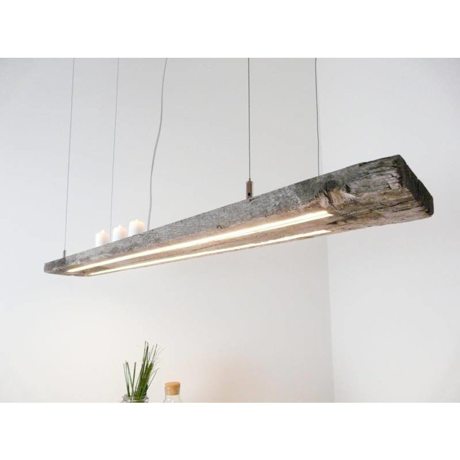 LED Lampe Hängeleuchte antik Balken graue Patina-3