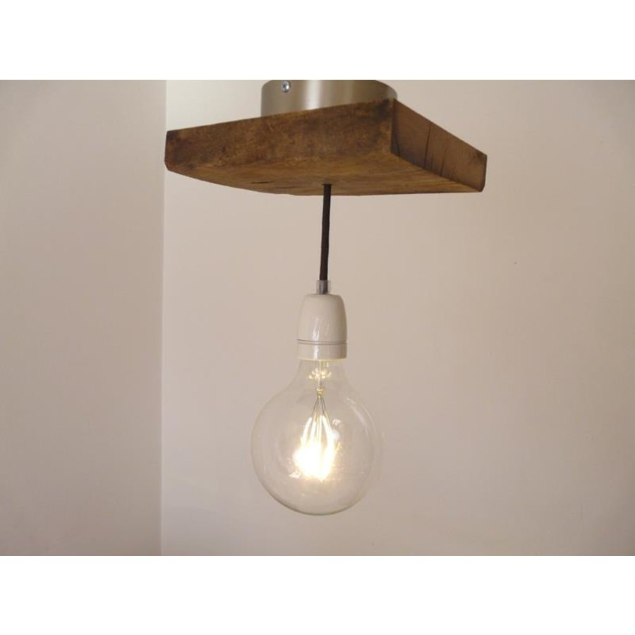 Deckenlampe aus rustikalen  Eichenholz-1
