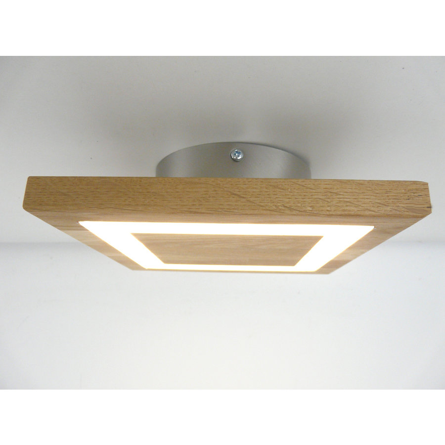 kleine LED Deckenleuchte Holz Eiche geölt  20 x 20 cm-1