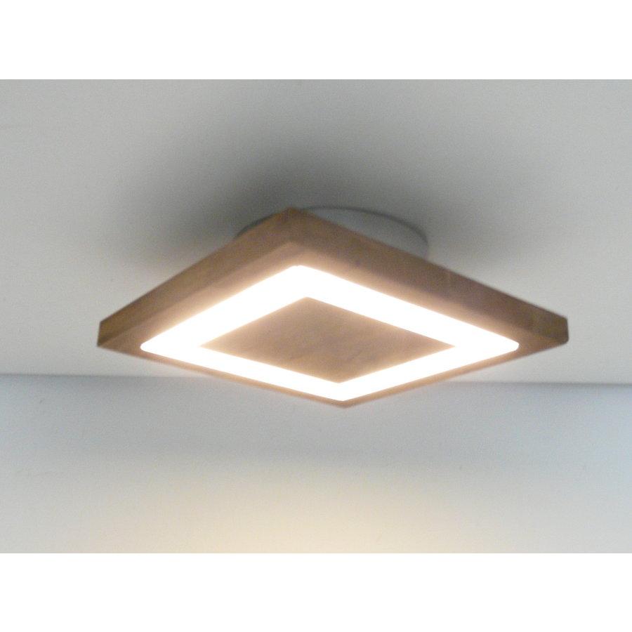 kleine Deckenleuchte Holz Akazie LED  20 x 20 cm-2