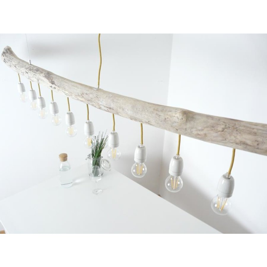 große Schwemmholzlampe mit Porzellanfassungen-7