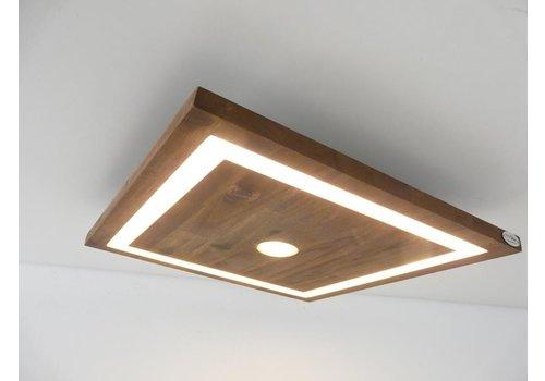 kleine LED Deckenleuchte Holz Akazie 20 cm x 20 cm