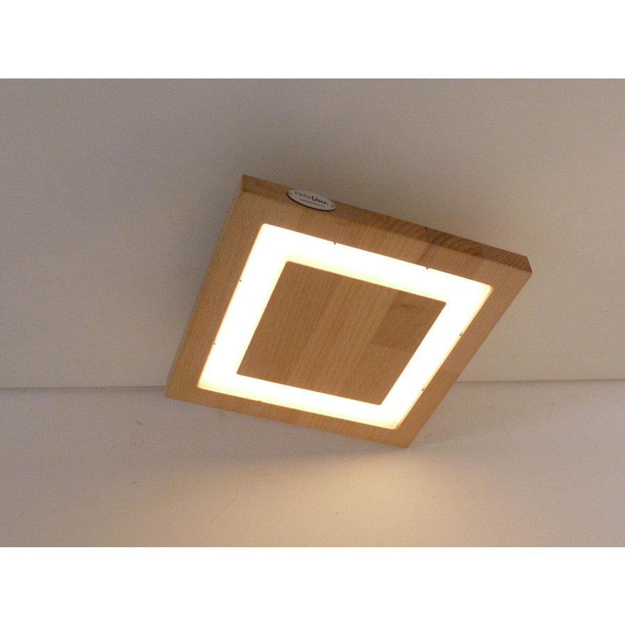 kleine LED Deckenleuchte Holz Buche  20 x 20 cm-3