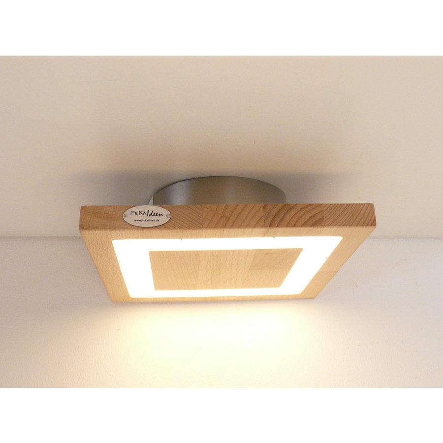 kleine LED Deckenleuchte Holz Buche  20 x 20 cm-1