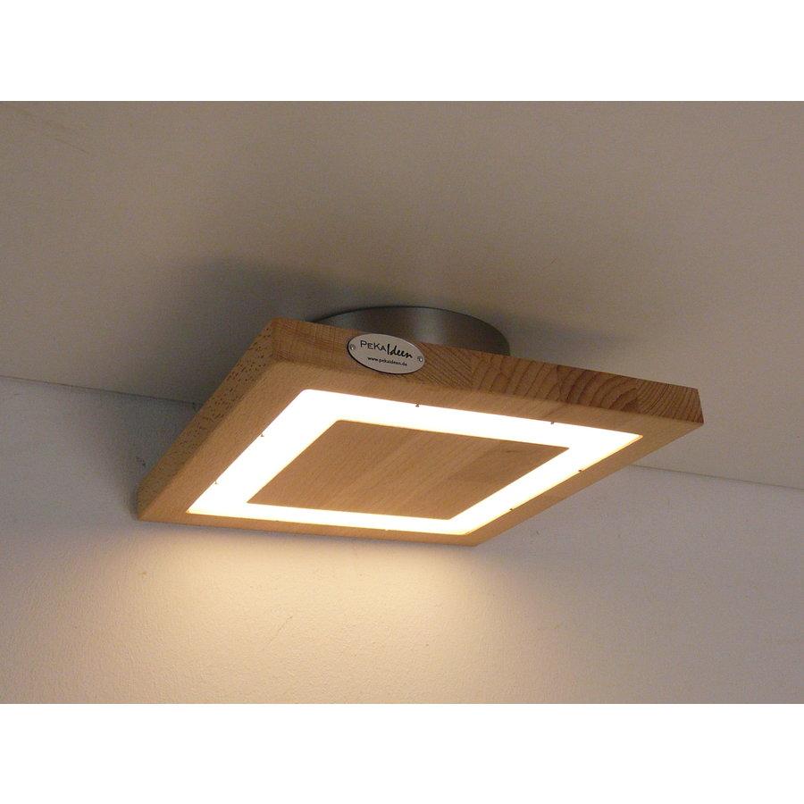 kleine LED Deckenleuchte Holz Buche  20 x 20 cm-2