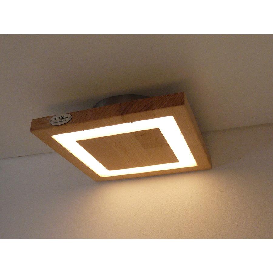 kleine LED Deckenleuchte Holz Buche  20 x 20 cm-4