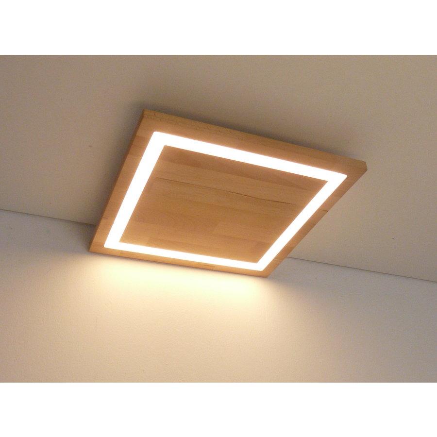 LED Deckenleuchte Holz Buche  39 x 39 cm   mit indirektem Licht-3