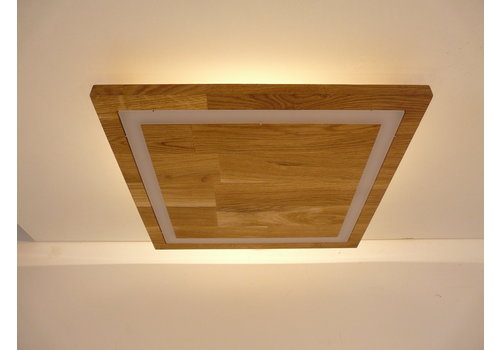 LED Deckenleuchte Holz Buche 39 cm x 39 cm  mit indirektem Licht