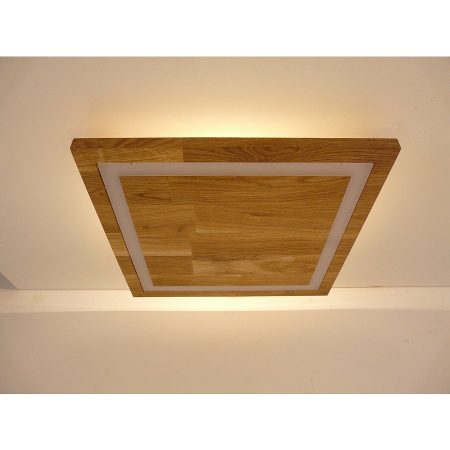 LED Deckenleuchte Holz Buche  39 x 39 cm   mit indirektem Licht-1