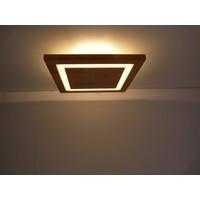 thumb-LED Deckenleuchte Holz Akazie  20 x 20 cm   mit indirektem Licht-3