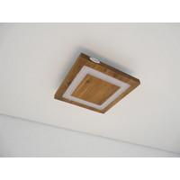 thumb-LED Deckenleuchte Holz Akazie  20 x 20 cm   mit indirektem Licht-8