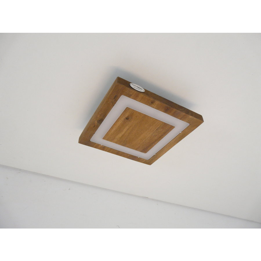 LED Deckenleuchte Holz Akazie  20 x 20 cm   mit indirektem Licht-8