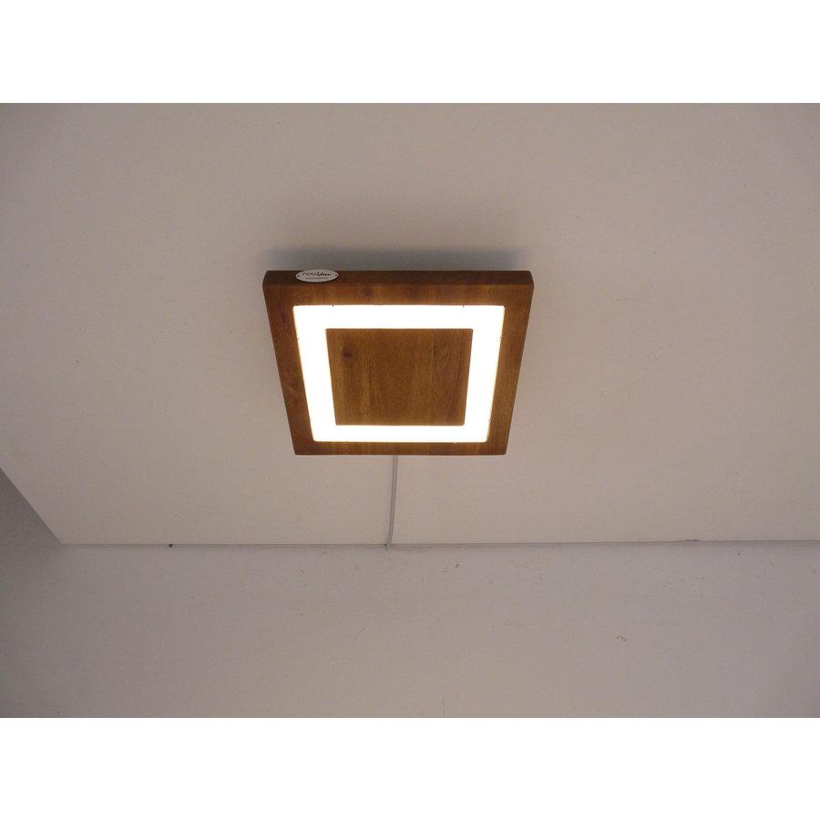 LED Deckenleuchte Holz Akazie  20 x 20 cm   mit indirektem Licht-4