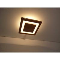 thumb-LED Deckenleuchte Holz Akazie  20 x 20 cm   mit indirektem Licht-1