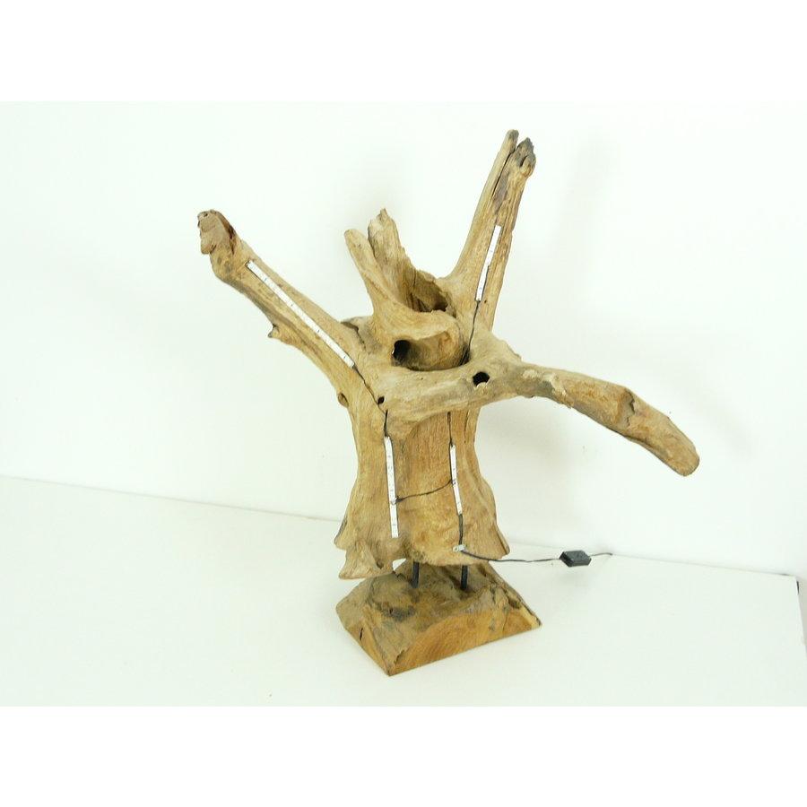 Tischleuchte Holz Skulptur Teak Wurzelholz-2