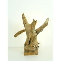 thumb-Tischleuchte Holz Skulptur Teak Wurzelholz-3