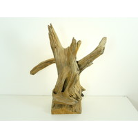 thumb-Tischleuchte Holz Skulptur Teak Wurzelholz-1