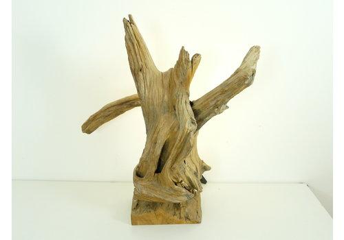 Peka Ideen Tischleuchte Holz Skulptur Teak Wurzelholz