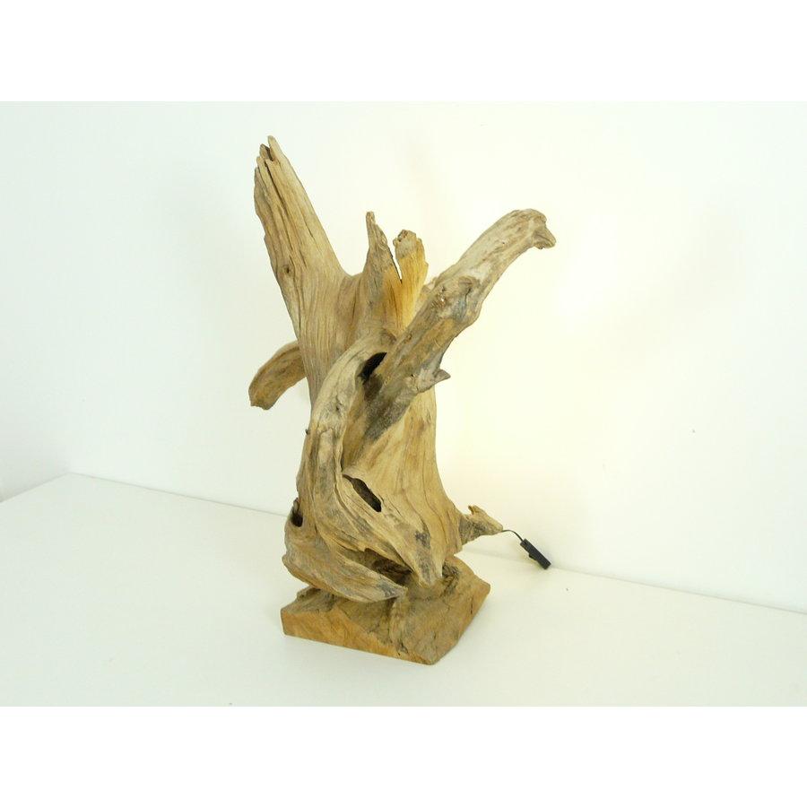 Tischleuchte Holz Skulptur Teak Wurzelholz-4