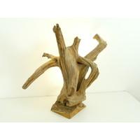 thumb-Tischleuchte Holz Skulptur Teak Wurzelholz-5