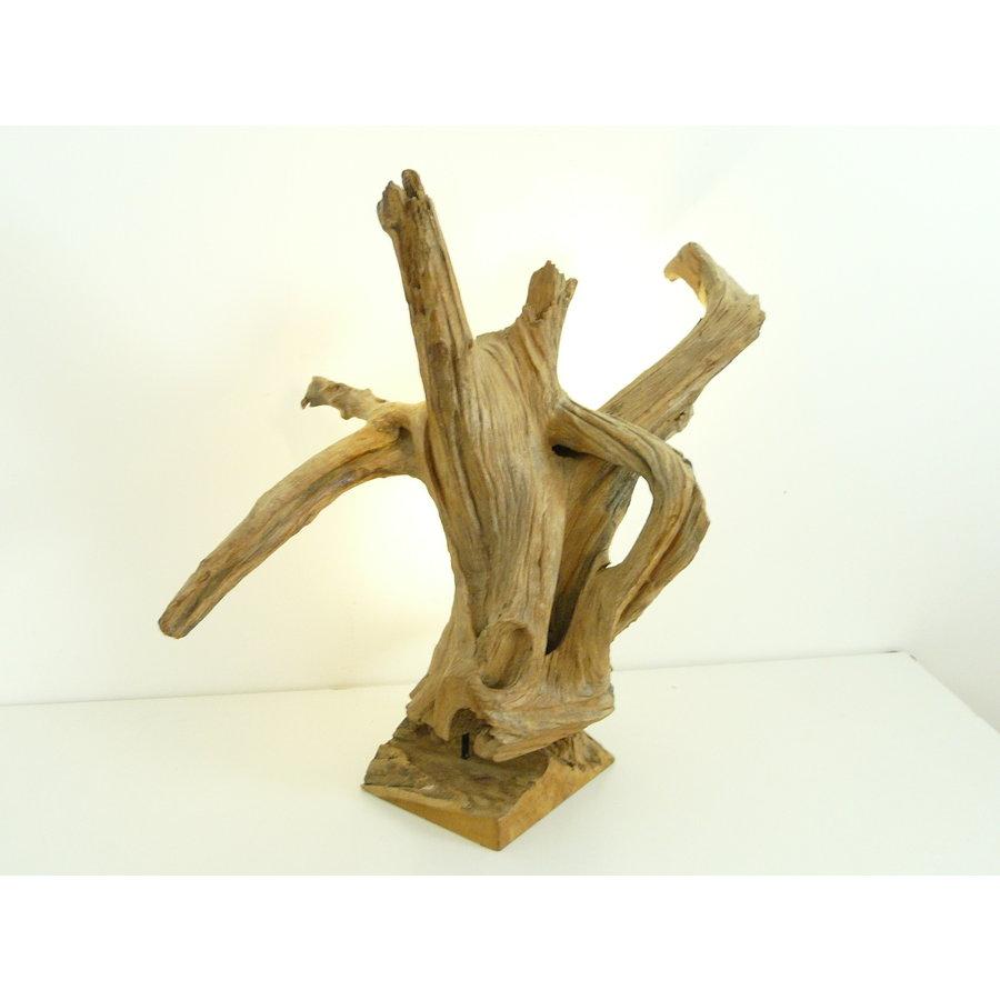 Tischleuchte Holz Skulptur Teak Wurzelholz-5