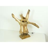 thumb-Tischleuchte Holz Skulptur Teak Wurzelholz-6