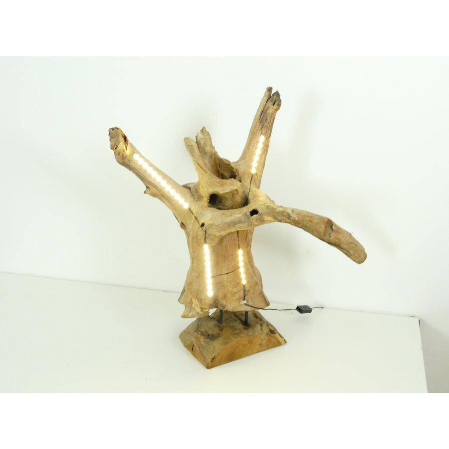 Tischleuchte Holz Skulptur Teak Wurzelholz-6