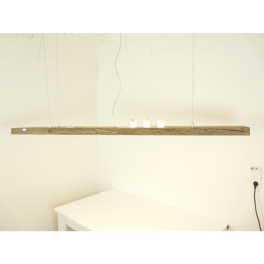 große hochwertige LED Lampe Hängeleuchte Holz Eiche Balkenlampe-5