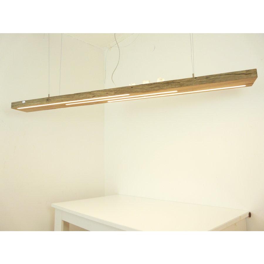 große hochwertige LED Lampe Hängeleuchte Holz Eiche Balkenlampe-6