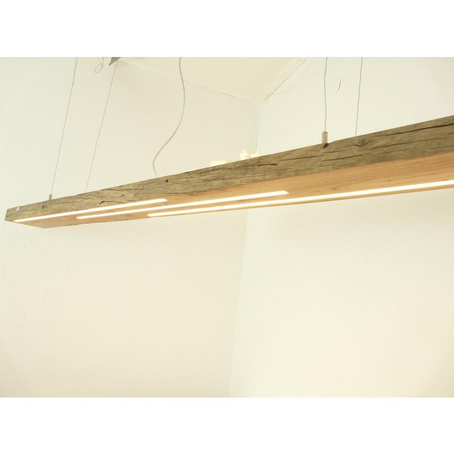 große hochwertige LED Lampe Hängeleuchte Holz Eiche Balkenlampe-7