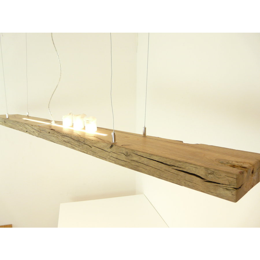 große hochwertige LED Lampe Hängeleuchte Holz Eiche Balkenlampe-8