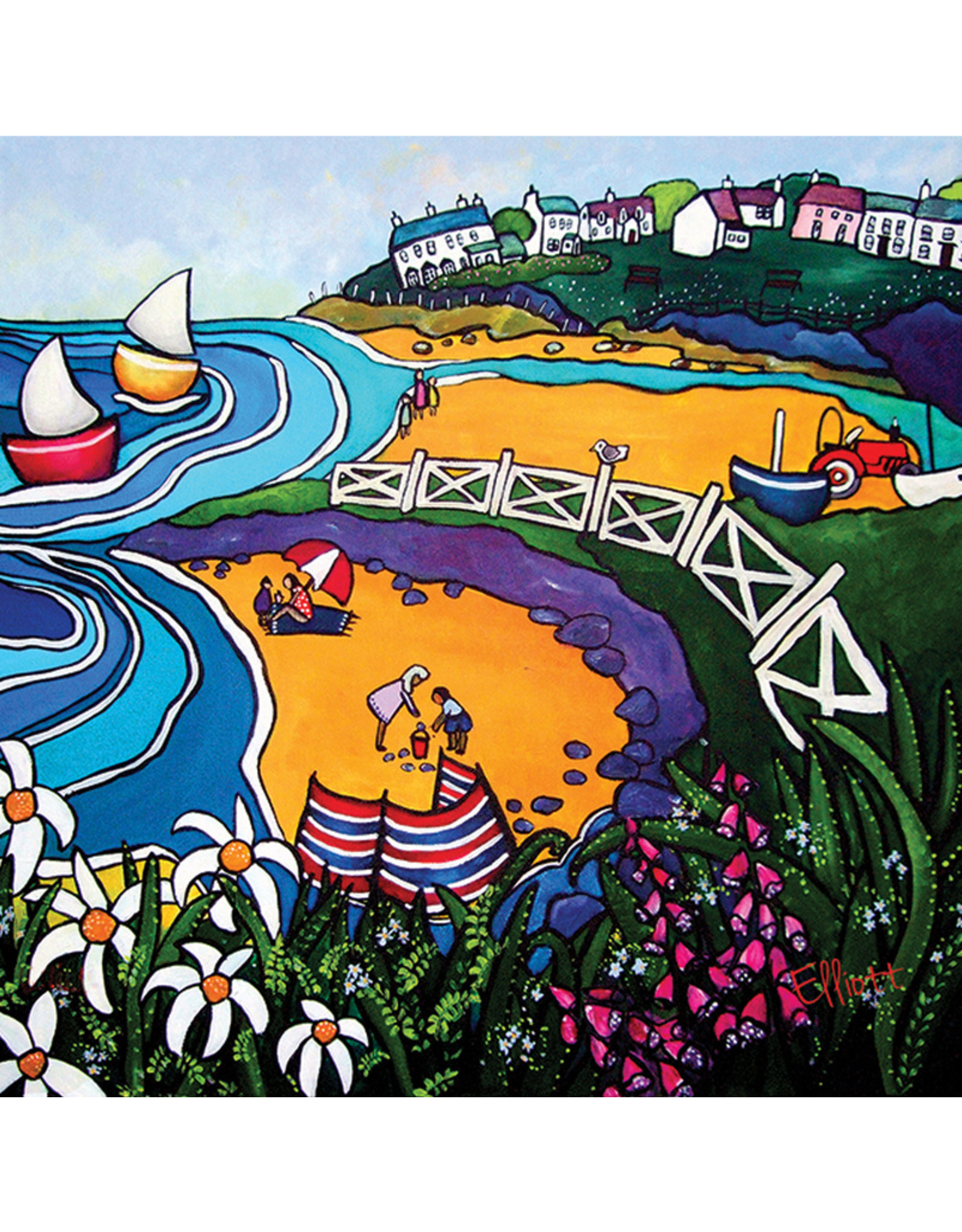 Helen Elliott Aberporth Beaches Postcard