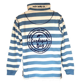Lazy Jacks Lazy Jacks Striped 1/4 Zip Sweatshirt LJ39 - Cardigan Bay Dolphin
