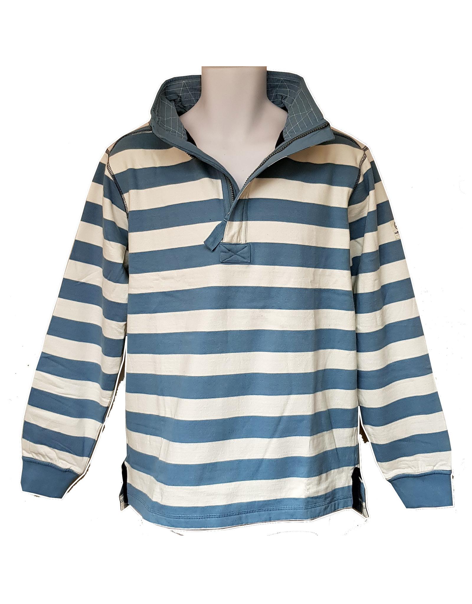 Lazy Jacks Lazy Jacks Striped 1/4 Zip Sweatshirt LJ39 - Cardigan Bay Dolphin