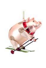 Gisela Graham Painted Glass Pig On Skis Dec