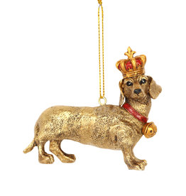 Gisela Graham Gisela Graham Gold Resin Dachshund w Crown Dec