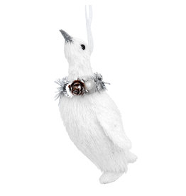Gisela Graham White Bristle Penguin with Wreath Dec