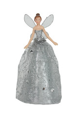 Gisela Graham Gisela Graham Silver Glitter Fabric/Resin Tree Top Fairy, Sml