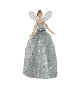 Gisela Graham Gisela Graham Silver Glitter Fabric/Resin Tree Top Fairy, Sml