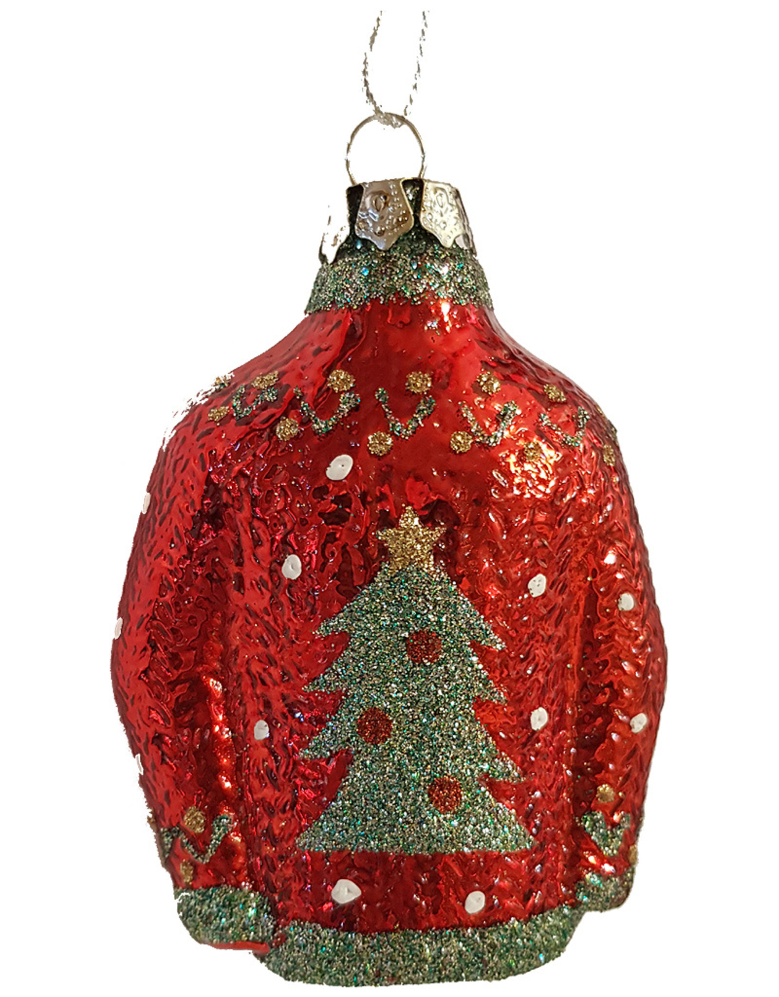 Talking Tables RED CHRISTMAS JUMPER GLASS BAUBLE
