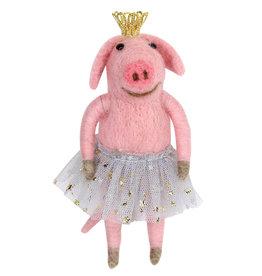 Gisela Graham Wool Mix Pink Ballerina Pig Dec