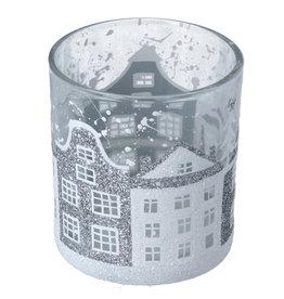 Gisela Graham Gisela Graham Clear Glass Votive w Silver/White Houses