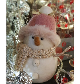 Lows FELT SNOWMAN WITH PINK HAT & GOLD SCARF