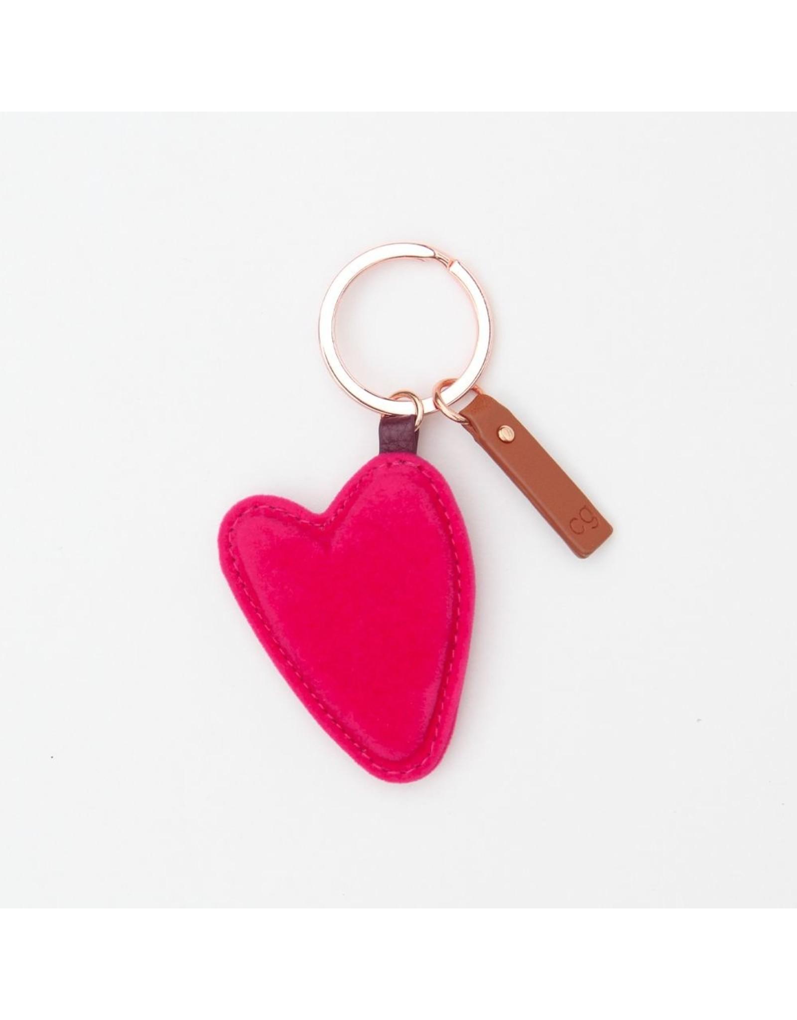 Caroline Gardner Caroline Gardner Pink Velvet Heart Keyring