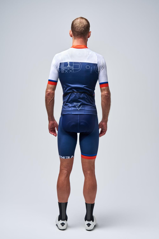 CANARI Mens Blue Mesh Zip Top W// Back POCKETS Biking Reflect Cycling Jersey NWTs