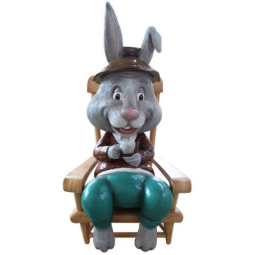 Polydeco Polyester konijn opa op stoel