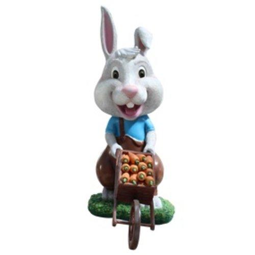 Polydeco Polyester konijn met karretje faustie