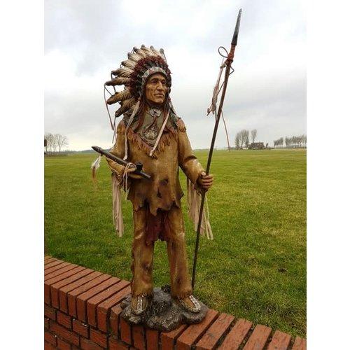 Polydeco Polystone opperhoofd indiaan met speer