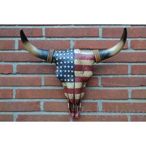 Polydeco Polystone schedel Amerikaanse vlag